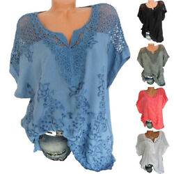 Women Lace V Neck T Shirt Casual Solid Embroidered Blouse Short Sleeve Loose Top $15.05