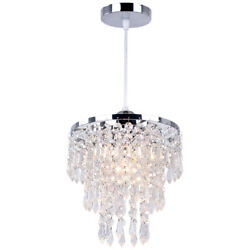 Modern Pendant Light Fixture Adjustable Chandelier Lighting Crystal Ceiling Lamp $35.98