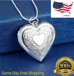 925 Sterling Silver Plt Heart Necklace Locket Photo Picture Pendant 18quot; N1 $3.99
