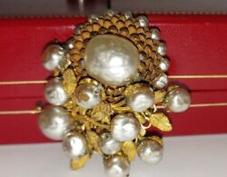 RARE Vintage Miriam Haskell Chandelier Clip Earrings Pearls amp; Sunflower Brooch $189.97