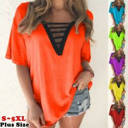 Summer Women Short Sleeve T Shirt V Neck Solid Casual Blouse Size Plus Tops $14.10