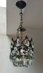 Antique Vintage Brass amp; Crystals French Small Chandelier Lighting Ceiling Lamp GBP 110.00