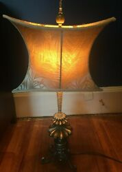 Vintage Reproduction 30quot; Brass Lamp with 16quot; Wide Beige Shade $52.99