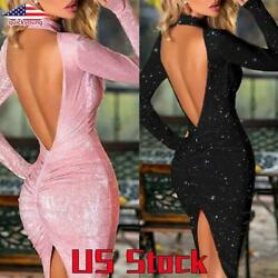 Women Sexy Glitter Backless Dress Bodycon Party Club Cocktail Long Sleeve Dress $20.69
