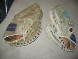 pair of vintage Spalding blue green leather baseball glove and 1B Mitt $22.00