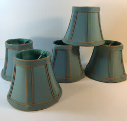 Lamp Shades Small Clip Ons Set Of 5 Turquoise With Beige Trim Unbranded $40.00