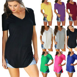 Women Solid Loose Summer V Neck Tunic T Shirt Blouse Casual Short Sleeve Tops $12.74