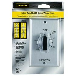 Defiant 20 Amp 60 Minute In Wall Spring Wound Timer Switch Stainless Steel Plate