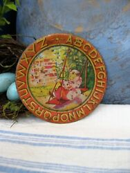 Small Antique Tin ABC Alphabet Plate Girl in Swing 3 1 2quot; $14.95
