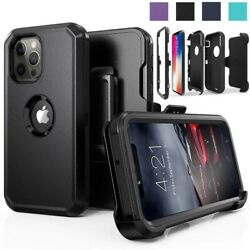 For iPhone 11 12 Pro Max Shockproof Defender Case With Stand Belt Clip Holster $9.99