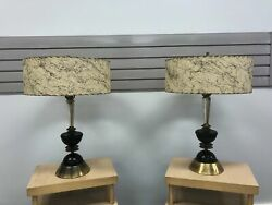 Vintage TABLE LAMP PAIR w Fiberglass Shades mid century modern black gold 1950s $499.99