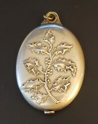 FRENCH ART NOUVEAU SILVER PLATED HOLLY SLIDE MIRROR LOCKET PENDANT ANTIQUE VTG $145.00