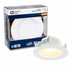 Commercial Electric 4 in. White Integrated LED Recessed Trim 2700K 4 Pack