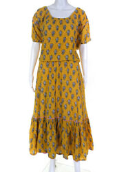 RHODE Womens Yellow Floral Frida Dress Size Extra Small 12582101 $84.27