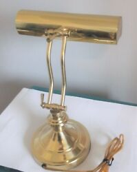 Vintage Brass Piano Lamp Adjustable Arm Bankers Desk Lamp Works Great Very Nice $32.50