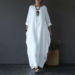 Women Ladies Cotton Linen Long Sleeve Hippy Boho Kaftan Long Dress Loose Dresses $17.99