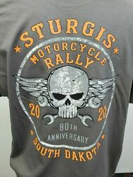 Bike Week Sturgis 2020 80th Annual Biker T Shirt Skull Wings Design $11.99