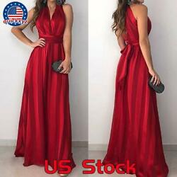 Women Summer Long Formal Wedding Dress Party Prom Bridesmaid Red Maxi Dresses $24.59