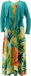 Attitudes by Renee Prntd Maxi Dress w Cardigan Teal Watercolor Pet Large A306556 $24.99