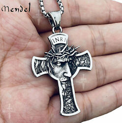 MENDEL Mens Stainless Steel Jesus Christ Face Crucifix Cross Pendant Necklace $15.99