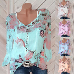 Women Casual Button Long Sleeve Floral Print T Shirt Top V Neck Tee Loose Blouse $10.40