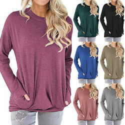 Women Casual Solid T Shirt Long Sleeve Crew Neck Blouse Loose Pocket Tunic Tops $14.99