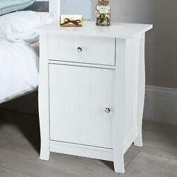 Nightstand Bedside End Table Drawer Storage Shelf Bedroom Furniture White NEW $46.89