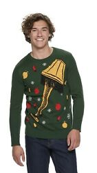 NWT Men#x27;s Ugly Sweater A CHRISTMAS STORY Green Lighted Leg Lamp Large LIGHTS UP