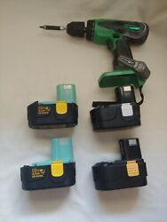 Hitachi Koki Variable Speed DS 18DVB 18V 1 2quot; Cordless Drill amp; Four Batteries