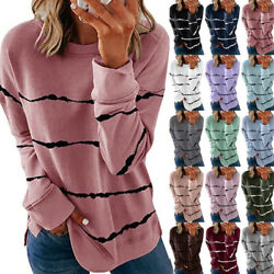Women Casual Striped Print T Shirt Long Sleeve Blouse Loose Pullover Tunic Tops $14.50