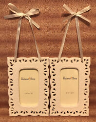 """White Welcome Home Frames Set of 2 Each Frame Is 2 1 4"""" x 4 1 8"""" New No Box $22.50"""