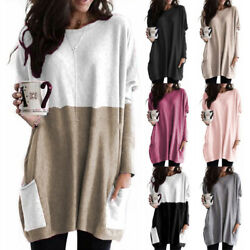 Women Crew Neck Long Sleeve T Shirt Casual Loose Pocket Blouse Solid Tunic Tops $17.24