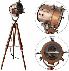Vintage Industrial Tripod Floor Table Lamp Spotlight Nautical Searchlight Stand $73.47