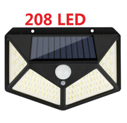 208 LED Solar Powered Lamps Solar Sensor Wall Lamps IP65 Waterproof PIR $19.99