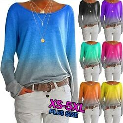 Womens Casual Long Sleeve T Shirt Wide Collar Tops Loose Blouse Gradient Tunic $13.99