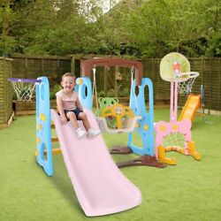 5 In 1 Kids Indoor And Outdoor Slide Swing And Basketball Football Baseball Set $209.99