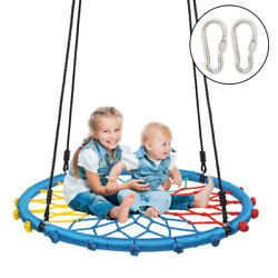 40 Inch Spider Web Swing Round Rope with Adjustable Ropes 2 Carabiners Colorful $55.55
