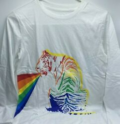 Boy#x27;s L 12 14 or XL 16 Long Sleeve Graphic Tee Colorful Tiger White New $7.00
