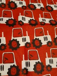 WHITE TRACTOR WITH BIG WHEEL ON RED Fabric Scrap Quilt Sew Craft $1.25