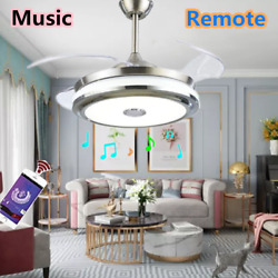 42quot; LED Invisible Ceiling Fan Light Dining Room Chandelier Lamp Remote $132.99