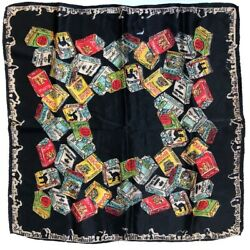 ANTIQUE ANTIQUE ART DECO SILK SCARF WITH CIGARETTE BRANDS PACKS IMAGES SMOKING $75.00