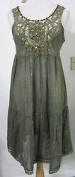 FREE PEOPLE Dress S Olive Green Battenburg Lace Boho Broomstick Skirt Hippie $24.99