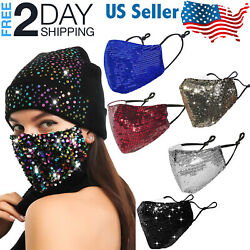 Sequin Glitter Face Mask Fashion Bling Sparkly Washable Face Cover Women $5.50