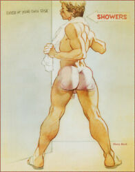 SHOWER male nude gay PRINT OF HARRY BUSH DRAWING $29.95