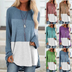 Women Casual T Shirt Long Sleeve Crew Neck Top Loose Blouse Color Matching Tunic $14.99