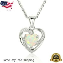 "Women 925 Sterling Silver Plated Faux Opal Heart Cubic Pendant Necklace 18""N128"