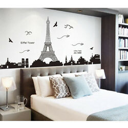 Mural Bedroom Wall Decal Decor Removable Paris Eiffel Tower Wall Sticker Z2A $10.89