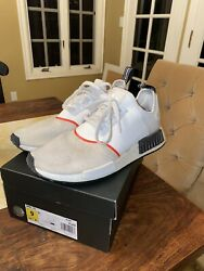 Adidas Mens Size 9 NMD R1 CLOUD WHITE CLOUD WHITE SOLAR RED $45.00