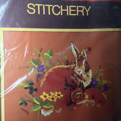 Sealed Vintage Sunset Stitchery Rabbits in the Meadow Embroidery 11quot; x 14quot; Kit $27.99
