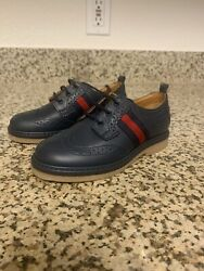New Gucci Junior #x27;Darby#x27; Oxford Shoes Navy Blue Boys 9 US 25 Eur. MSRP $415 $125.00